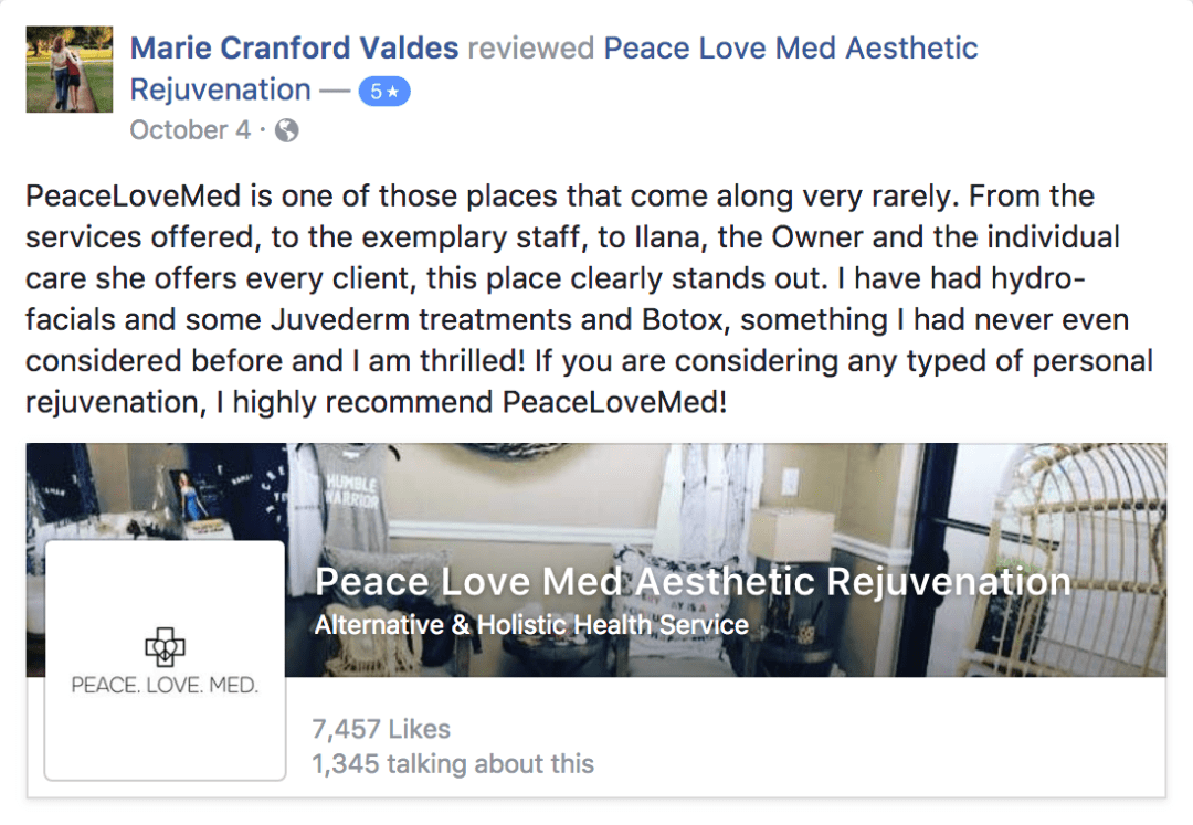 A screenshot of Marie's testimonial about Peace.Love.Med.