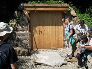 This is a root cellar made with horizontal logs at the Krameterhof in Austria