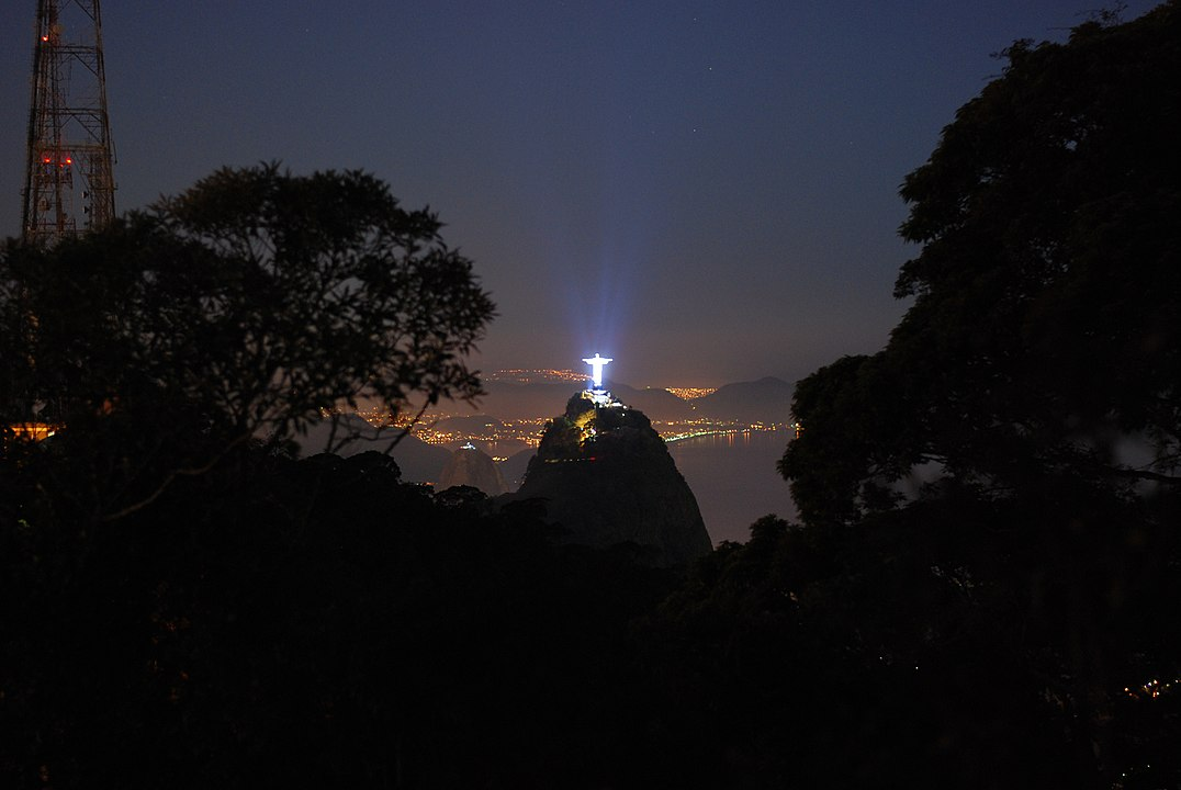 Christ the Redeemer at night as seen from Tijuca Forest - Peace Revolution
