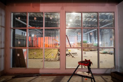 A view from the fitness centre looking into the Canadian Natural Fieldhouse.