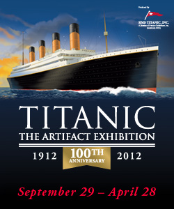 Flyer detailing the Titantic exhibition with the image of the ship.