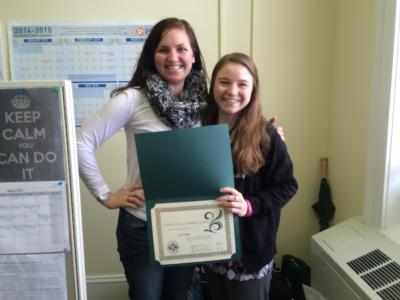 """"""""""" and """""""" posing with certification of appreciation"""