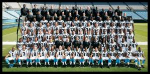 Large group of the 2015 NFL Carolina Panthers poses in field