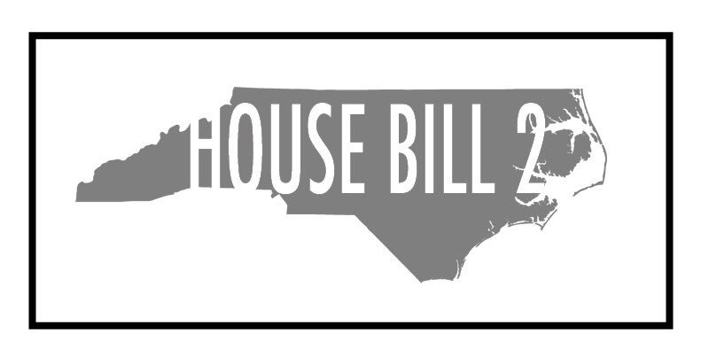"Gray outline of the state of North Carolina with white text overlayed with the text ""House Bill 2"""