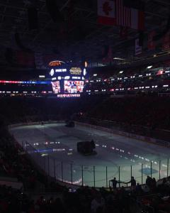 PNC Arena in the dark during a hockey game