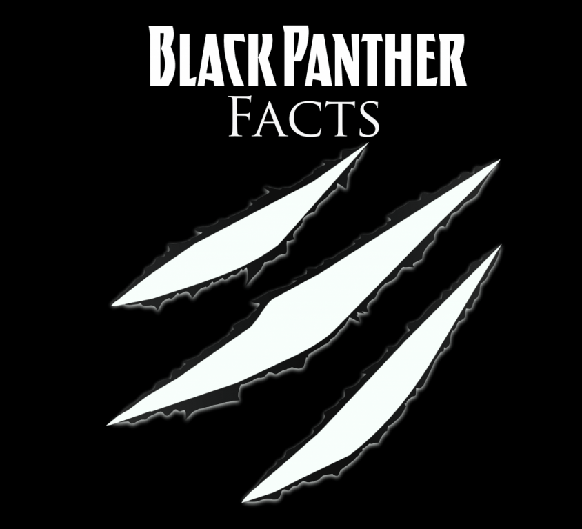 "black background with words ""Black Panther facts"""