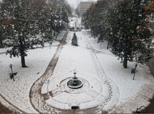 View of Main lawn at William Peace University in the snow