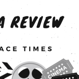 Black and white says Cinema Review in an Admit One movie ticket