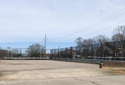 parking lot and tennis courts at Seaboard Station