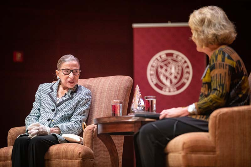 Ruth Bader Ginsburg engages in discussion with Meredith Alumni.