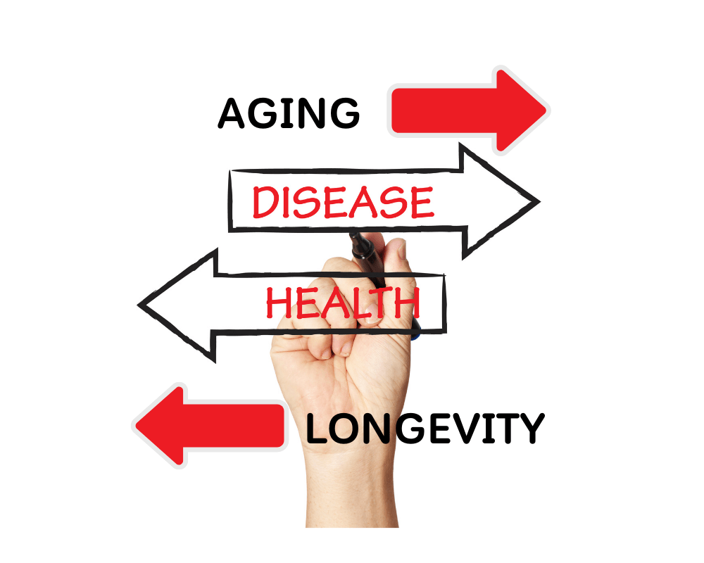 Aging is associated with disease while health is associated with longevity.