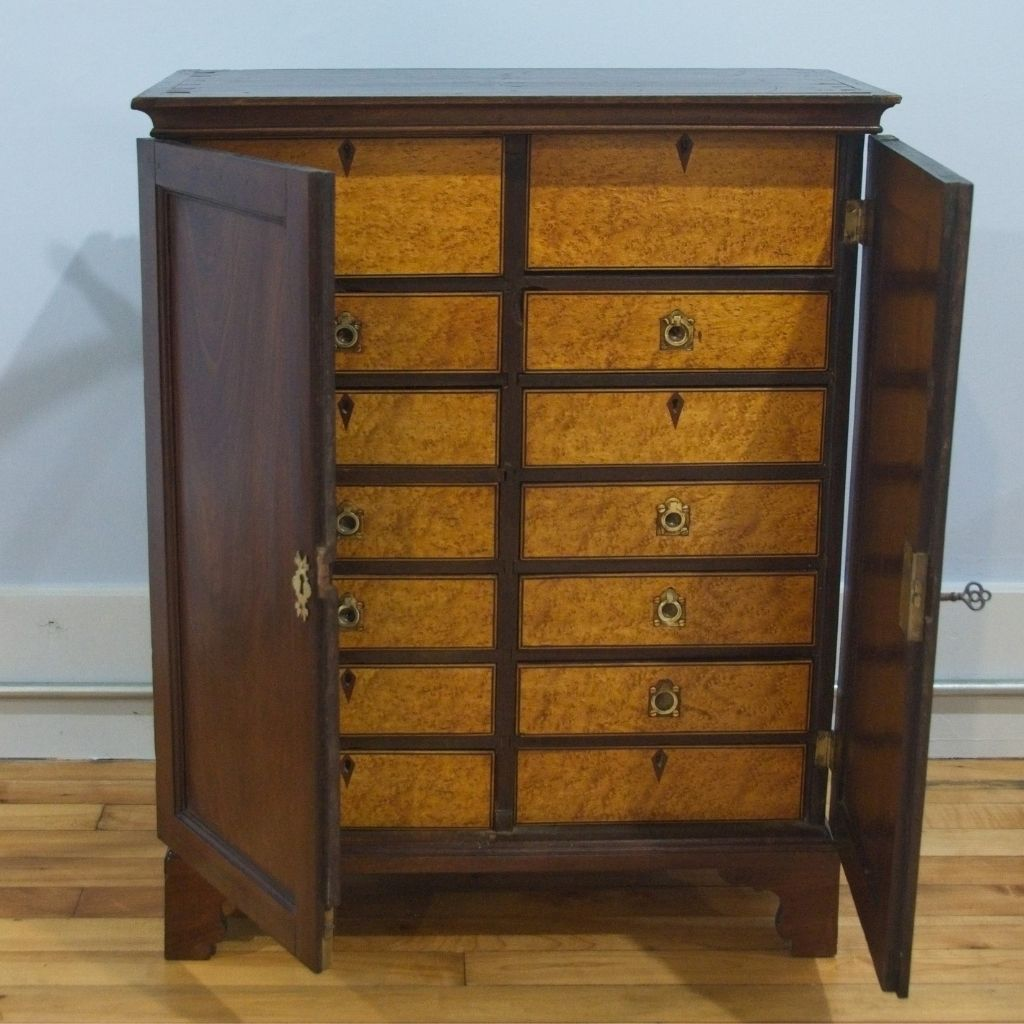 Small Chest with Birdseye Maple Drawer Fronts and Original Key