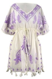 Boho Cotton Floral Embroidered Cover-up Beachwear Kaftan Tunic Violet