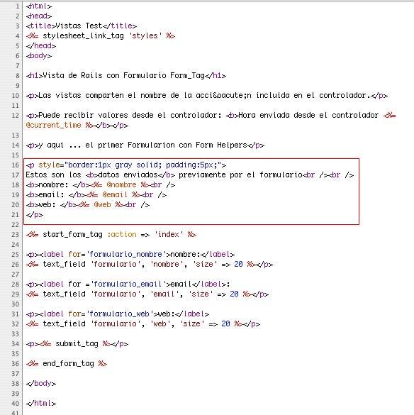 Ruby on Rails; Vistas, Formularios con Form Helpers y envío de parámetros (POST) (6/6)
