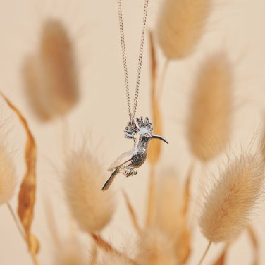 African Hoopoe hand-carved in Sterling Silver