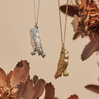 Barn Owls in Sterling Silver and Yellow Gold