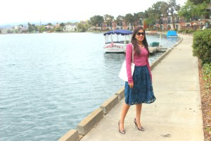 Blue Midi and Pink Lace Top 1