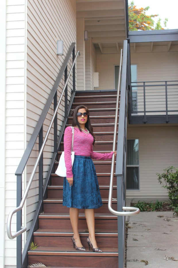 Blue Midi Skirt and Pink Lace Top 4