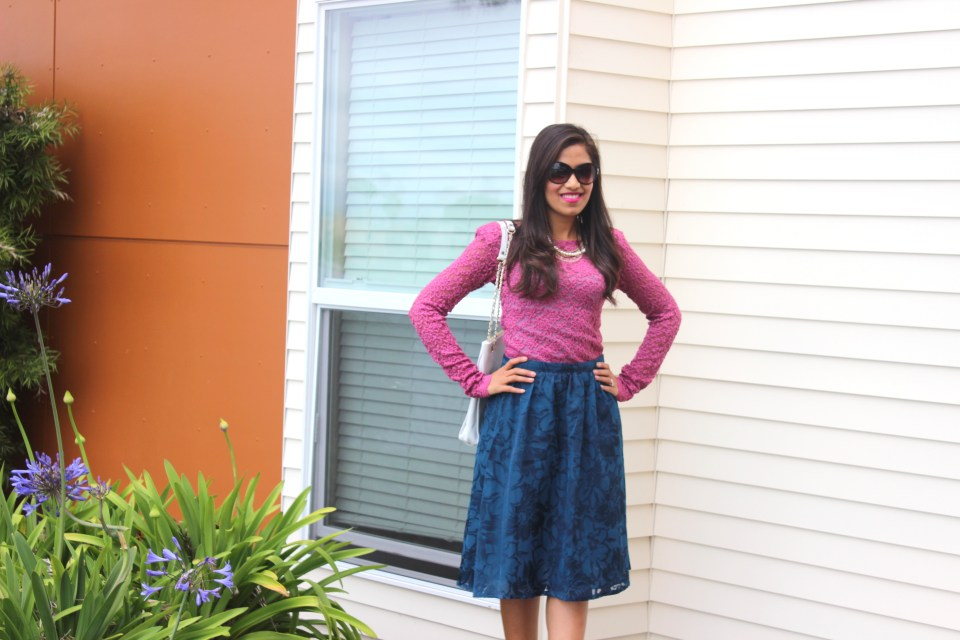Blue Midi Skirt and Pink Lace Top 6