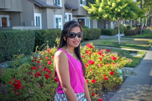 White Midi Skirt and Pink Top 2