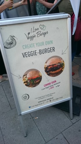 Aufsteller von I Love Veggie Burger