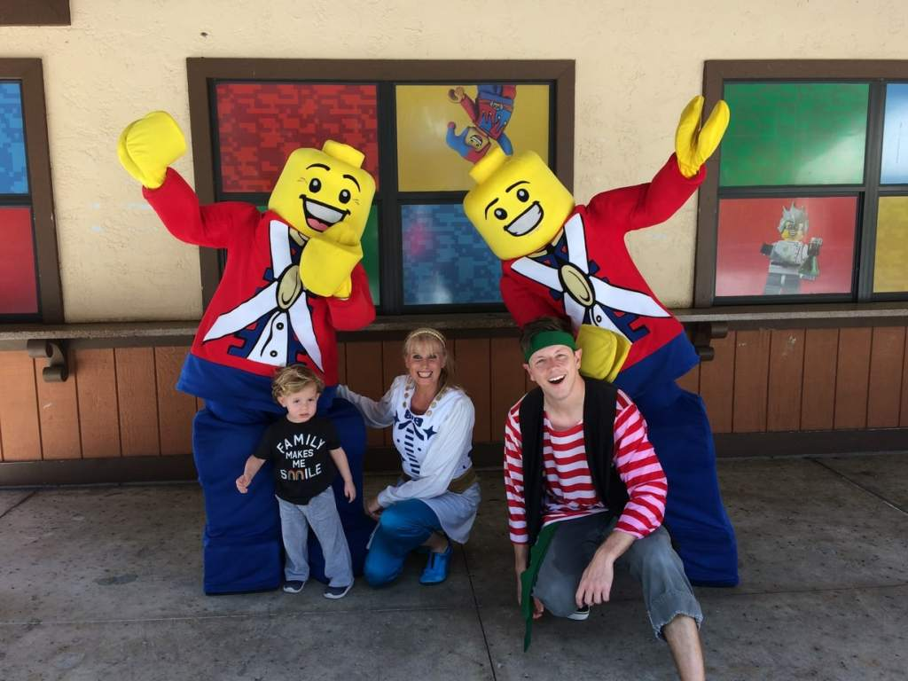 Our two year old at Legoland with friends from the Pirates Cove Ski Show.