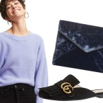 fall sweater cropped jeans velvet clutch mule