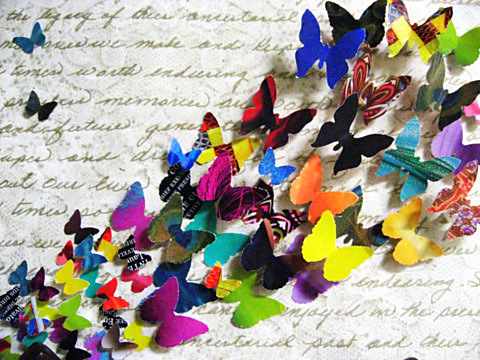 Finished Object: Recycled Magazine Butterfly Collage (2/6)