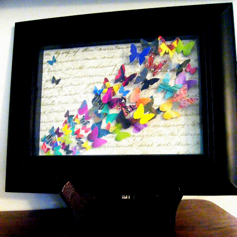 Finished Object: Recycled Magazine Butterfly Collage (1/6)