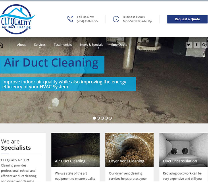 Air Duct Cleaning Website Design