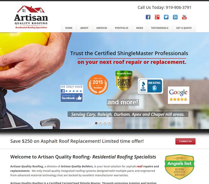 artisan quality roofers website design