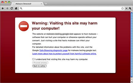 chrome not secure warning screen shot