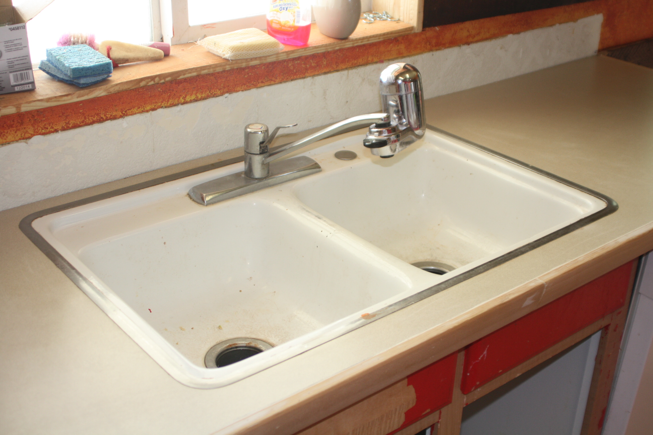 Kitchen Remodel Stage 1 DIY Concrete Counters with a New Sink and