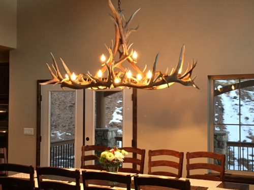 518-L Longs Peak oval elk antler chandelier