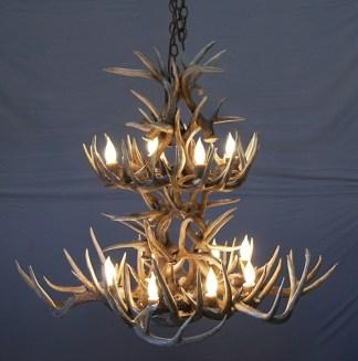 Whitetail antler chandeliers antler lighting made in usa la plata peak antler chandelier 2 tier white tail deer antlers aloadofball Image collections