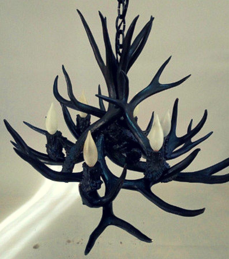Black antler chandelier small 4 lights modern glam small black black antler chandelier aloadofball Images
