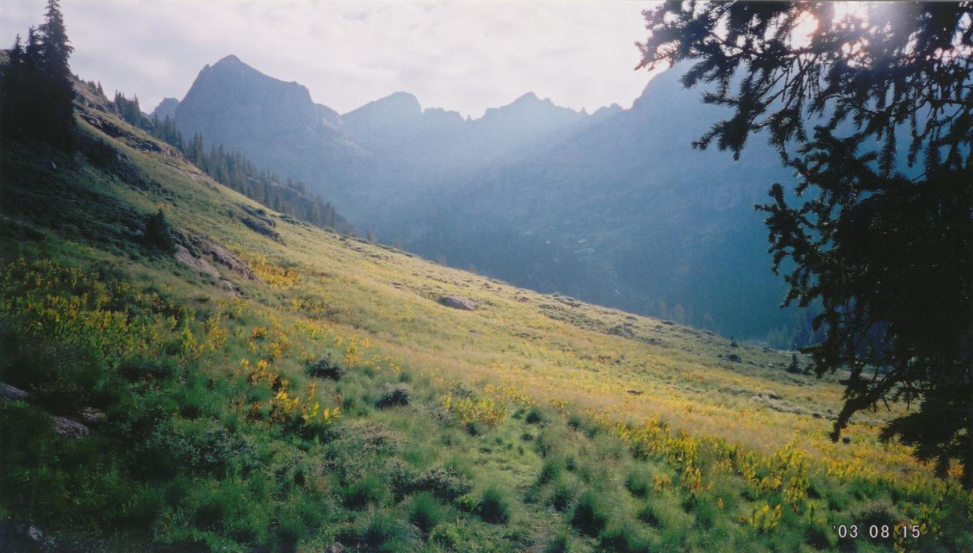 A view toward the Twin Lakes from my campsite