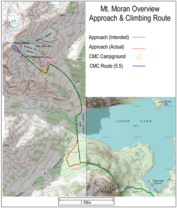 Map of Mt. Moran approach & climbing routes