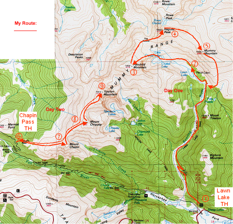 My route through the Mummy Range