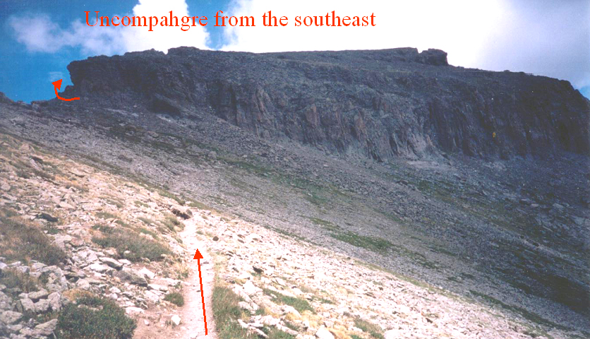 The forbidding cliffband protecting the Uncompahgre summit