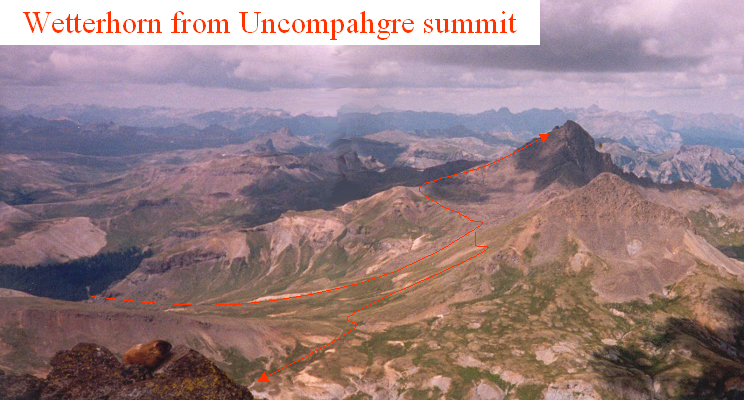A view of Wetterhorn and my early-day route, seen from the summit of Uncompahgre