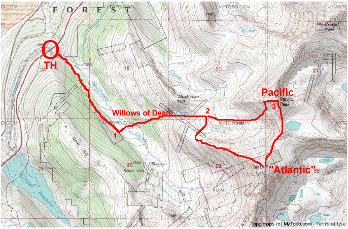Our route from the Mayflower Gulch TH to Atlantic and Pacific Peaks