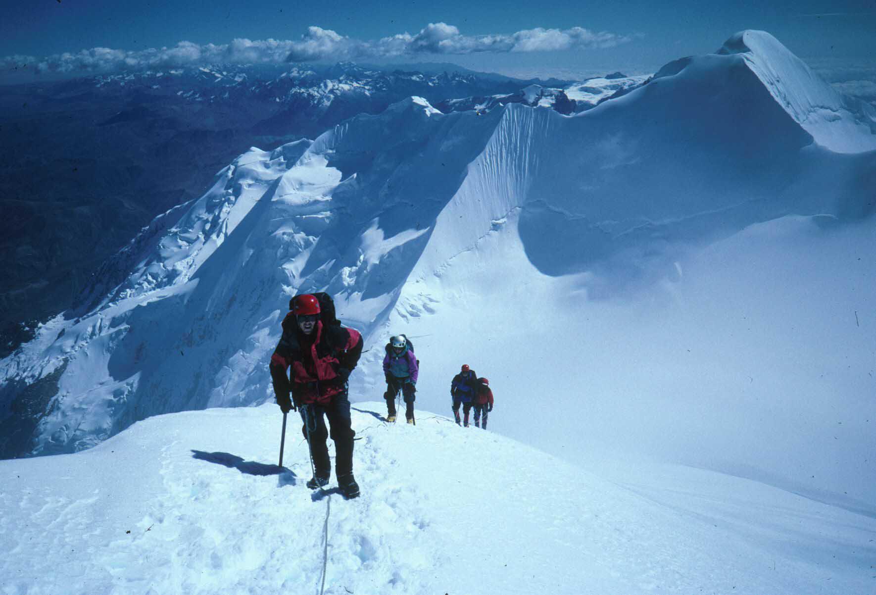 The Illimani summit ridge....just a few more steps!