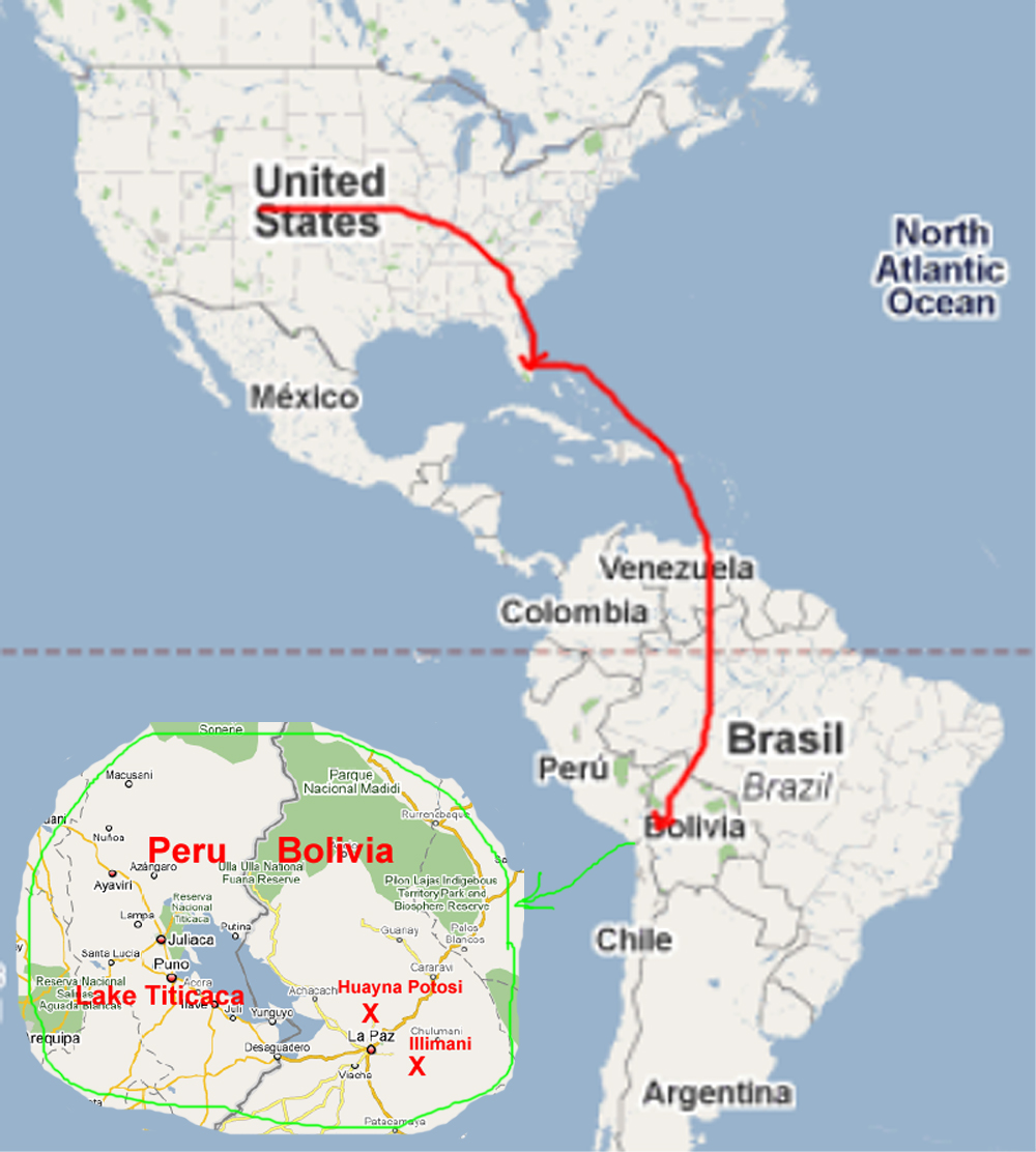 Overmap of flight to Bolivia and location of key destinations