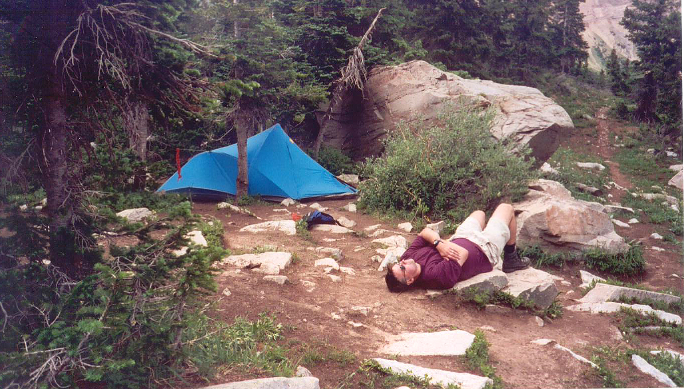 Mark getting a headstart on his nap at camp