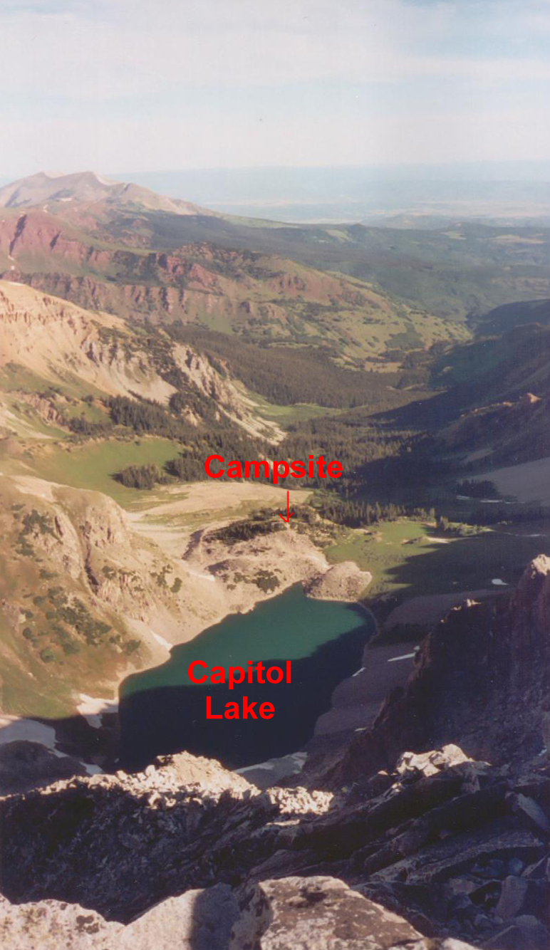 Our campsite seen from Capitol summit