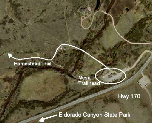 Aerial photo of starting point (Eldorado Canyon Mesa Trailhead)