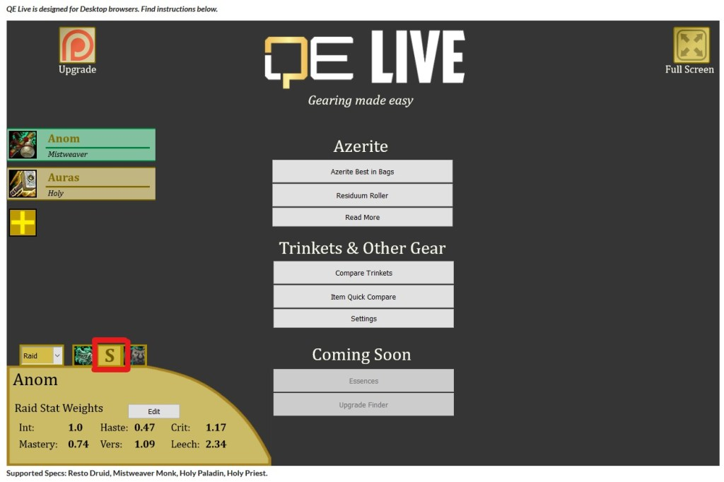 QE Live Main Screen with Stat Weights Shown