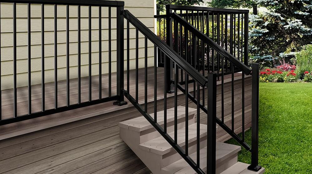 Exclusive To The Home Depot Peak Aluminum Railing | Black Aluminum Stair Railing | Exterior | Modern | Steel | Cable Rail | Deckorators