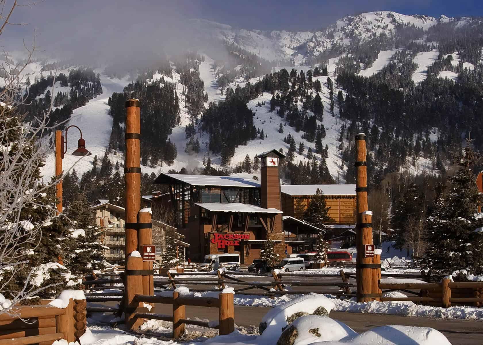 Teton Village in winter, ranked #1 by Ski Magazine